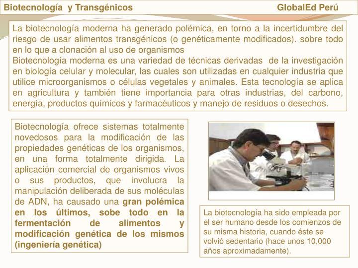Biotecnologa  y Transgnicos