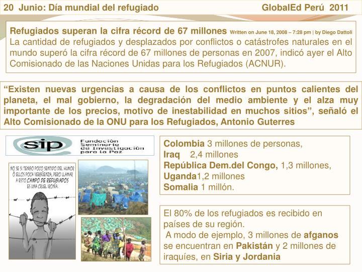 20  Junio: Da mundial del refugiado                                         GlobalEd