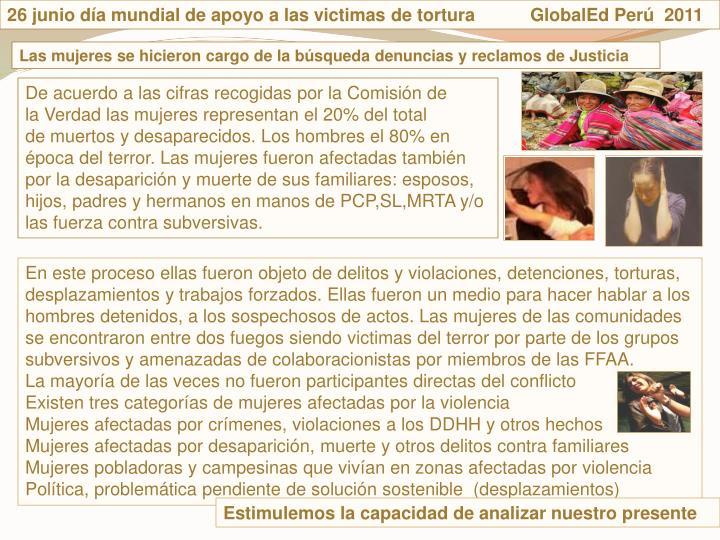 26 junio da mundial de apoyo a las victimas de tortura