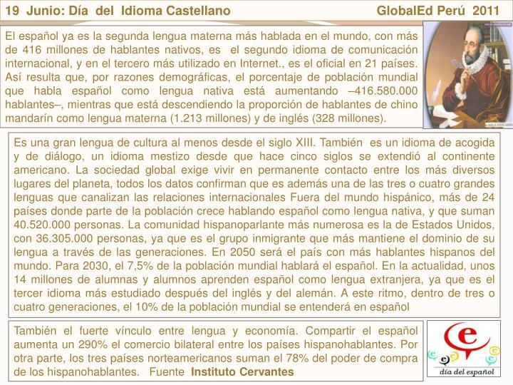 19  Junio: Da  del  Idioma Castellano                                         GlobalEd