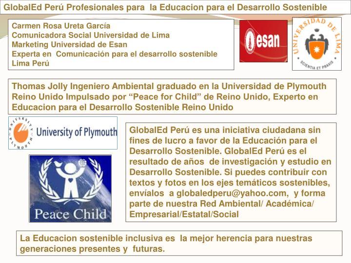 GlobalEd Per Profesionales para  la Educacion para el Desarrollo Sostenible