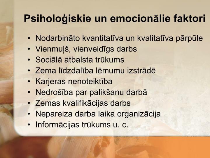 Psiholoģiskie un emocionālie faktori