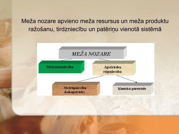 Meža nozare apvieno meža resursus un meža produktu ražošanu, tirdzniecību un patēriņu vienotā sistēmā