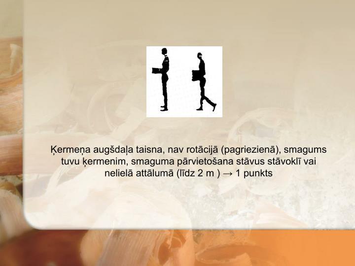 Ķermeņa augšdaļa taisna, nav rotācijā (pagriezienā), smagums tuvu ķermenim, smaguma pārvietošana stāvus stāvoklī vai nelielā attālumā (līdz 2 m ) → 1 punkts