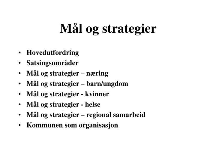 Mål og strategier