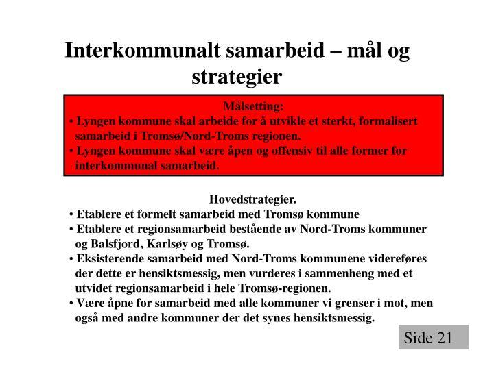 Interkommunalt samarbeid – mål og strategier