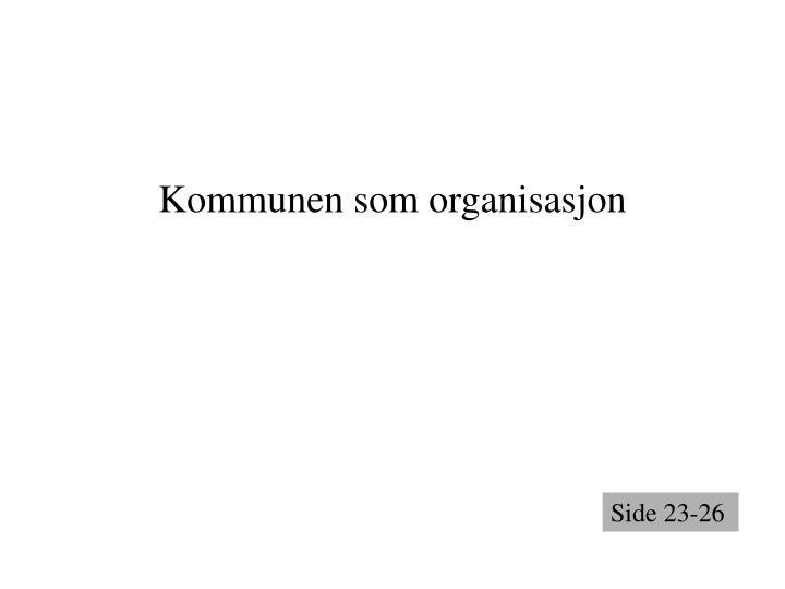 Kommunen som organisasjon