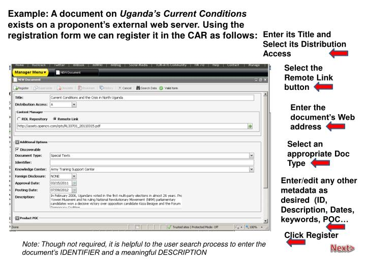 Example: A document on