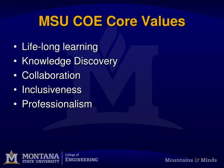 MSU COE Core Values