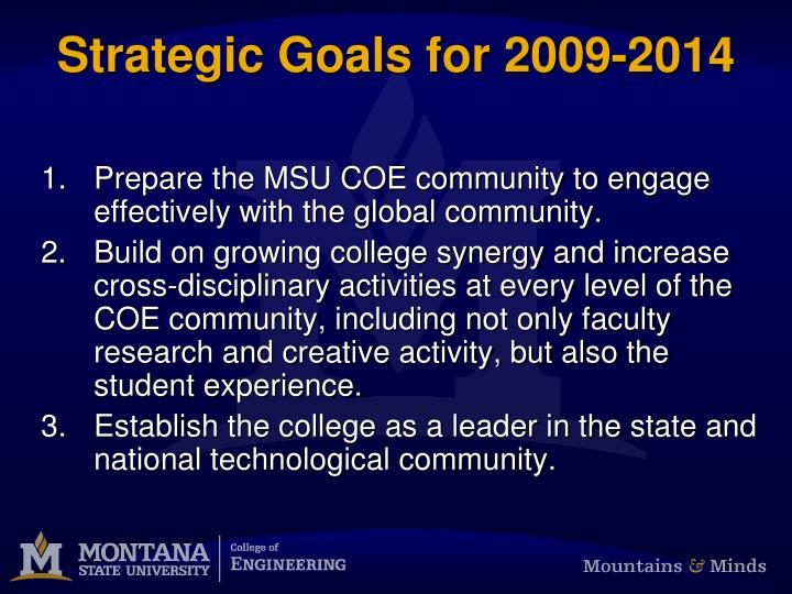 Strategic Goals for 2009-2014
