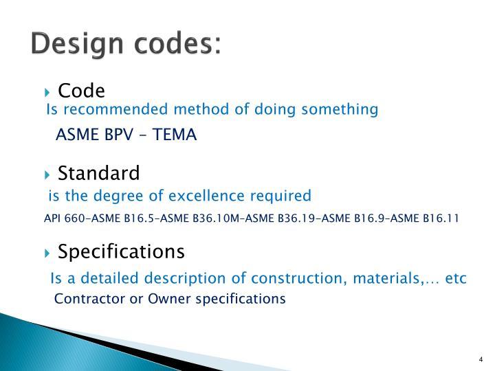 Design codes: