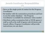 awards coordinator responsibilities