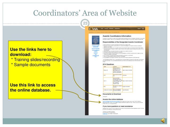 Coordinators' Area of Website