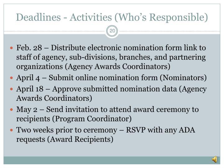 Deadlines - Activities (Who's Responsible)