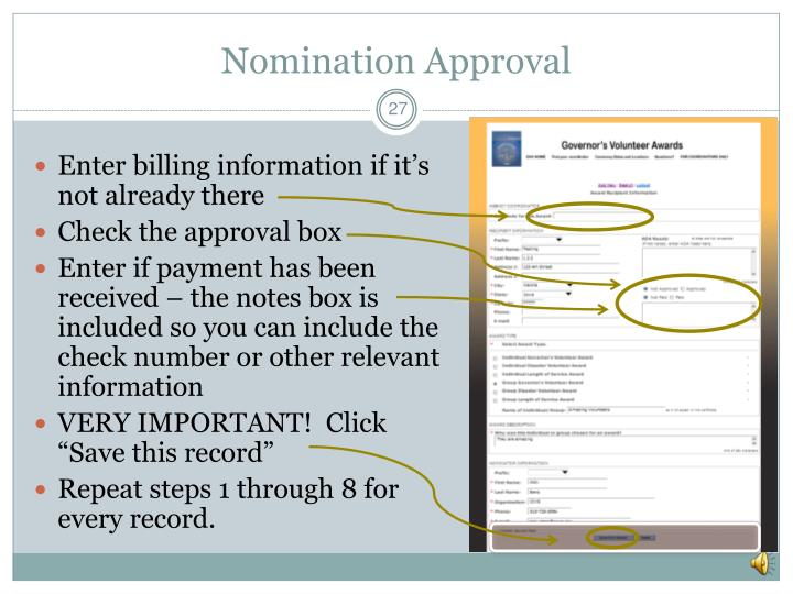 Nomination Approval