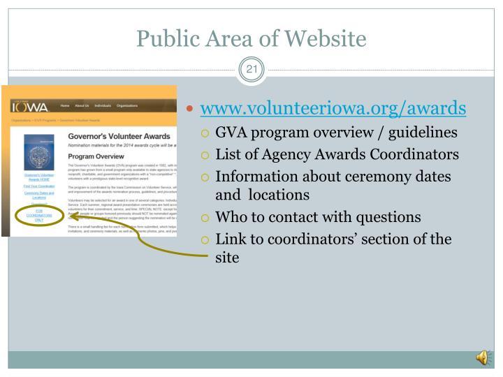 Public Area of Website