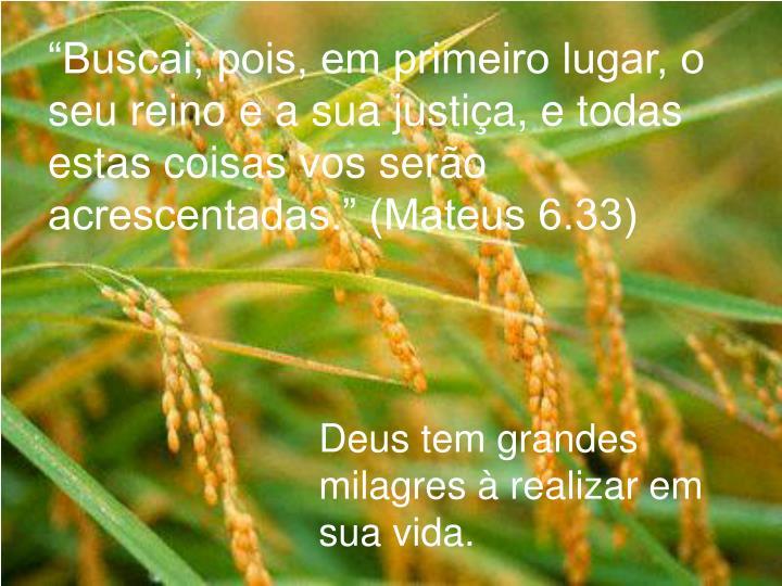 """""""Buscai, pois, em primeiro lugar, o seu reino e a sua justiça, e todas estas coisas vos serão acrescentadas."""" (Mateus 6.33)"""