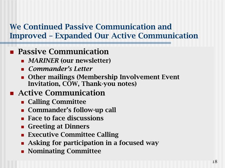 We Continued Passive Communication and Improved – Expanded Our Active Communication