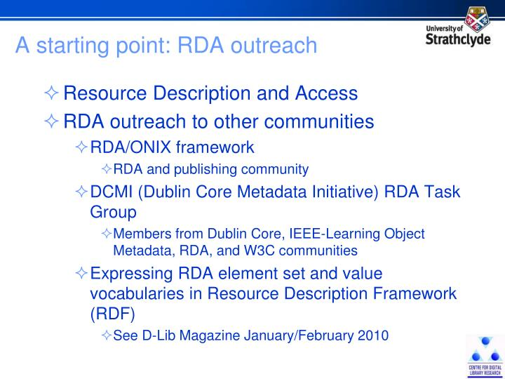 A starting point: RDA outreach