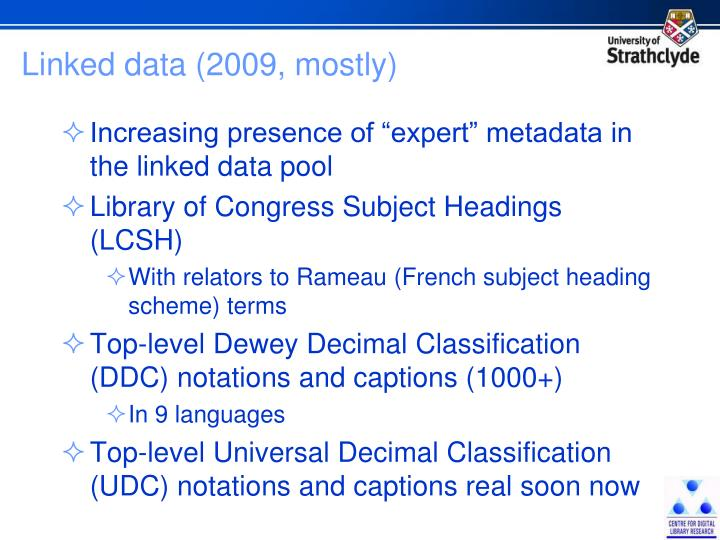 Linked data (2009, mostly)
