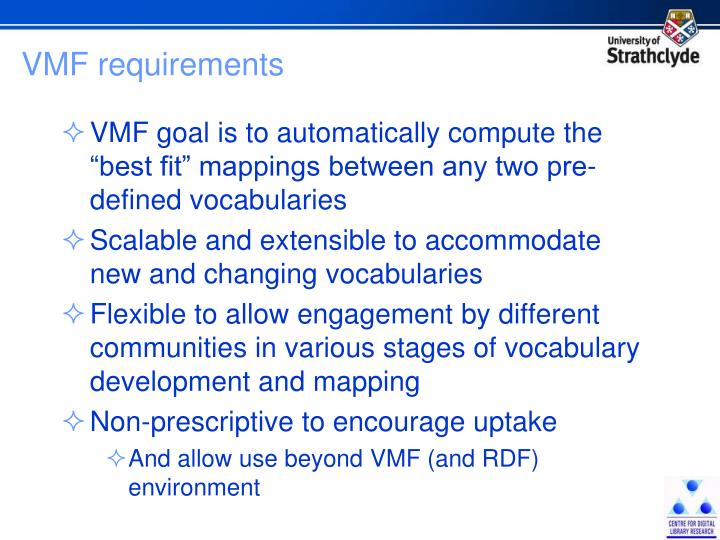 VMF requirements