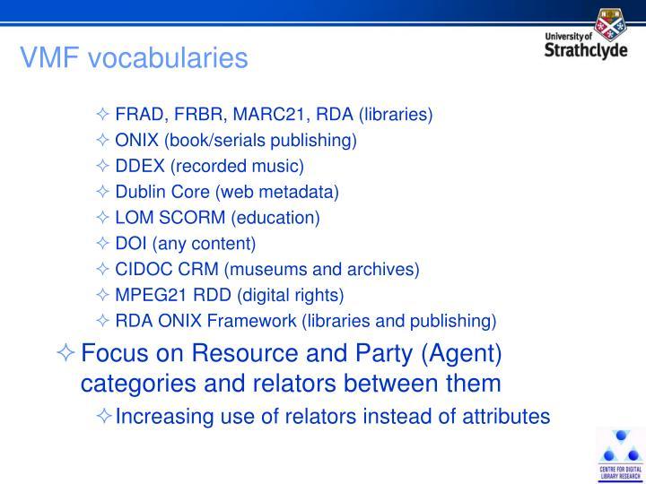 VMF vocabularies
