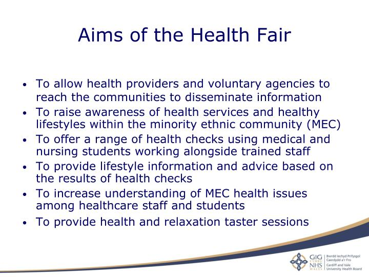 Aims of the Health Fair