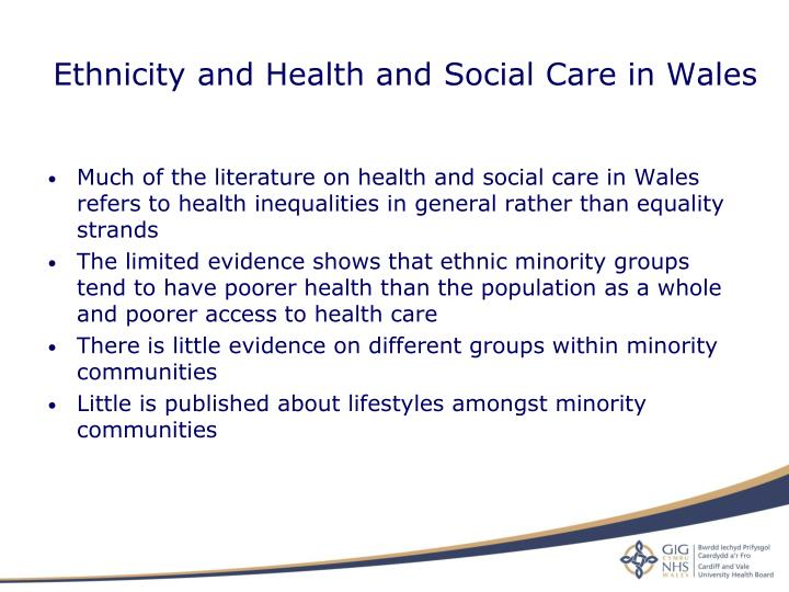 Ethnicity and Health and Social Care in Wales