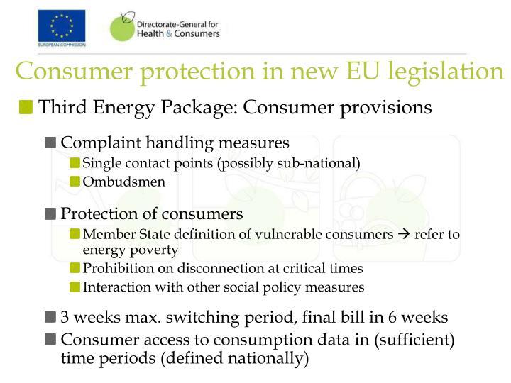 Consumer protection in new EU legislation