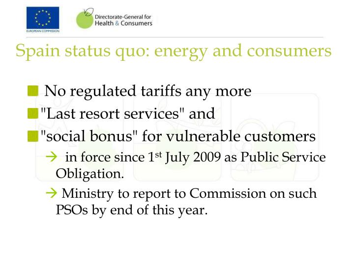 Spain status quo: energy and consumers