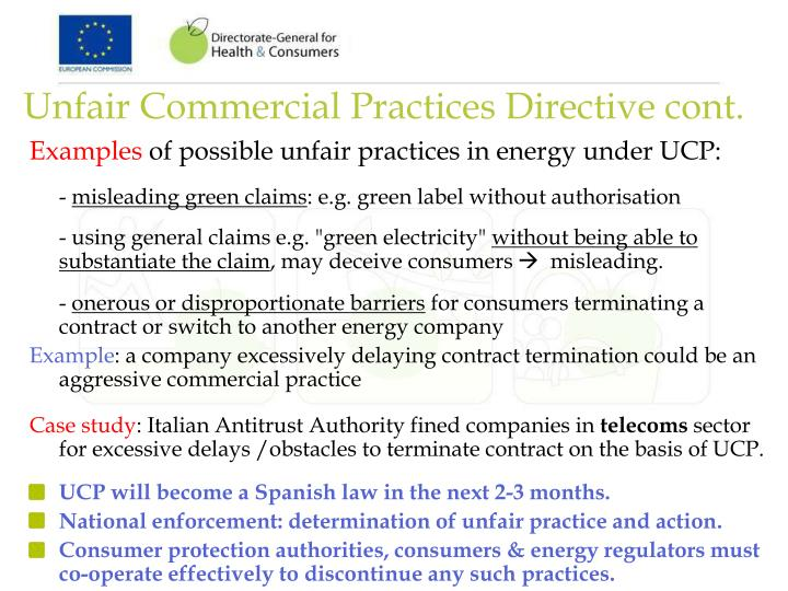 Unfair Commercial Practices Directive cont.
