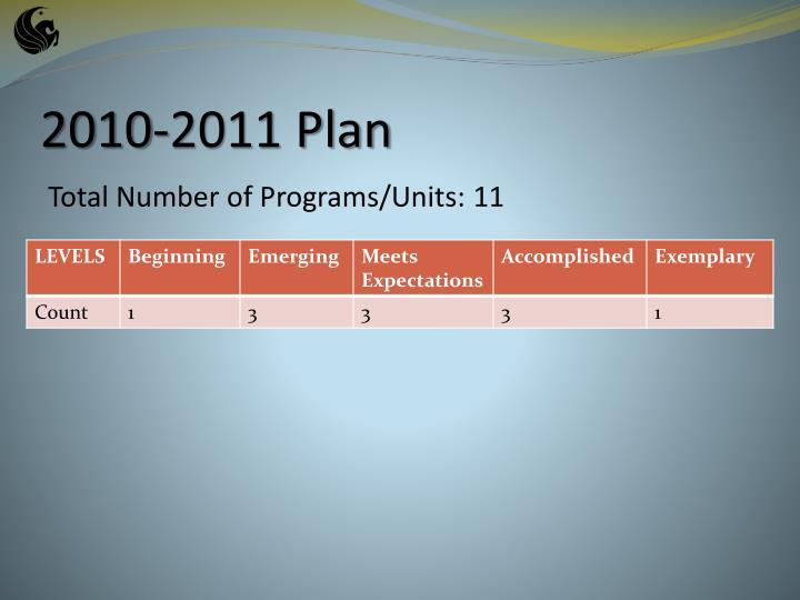 2010-2011 Plan
