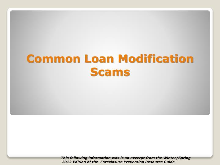Common Loan Modification Scams