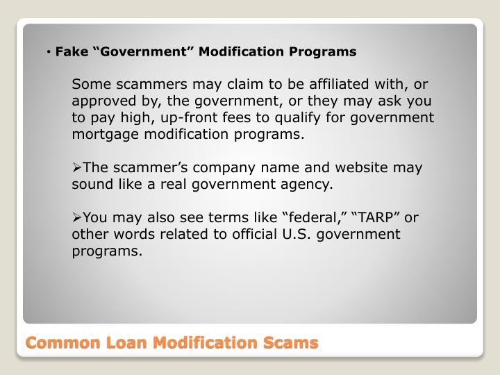 "Fake ""Government"" Modification Programs"