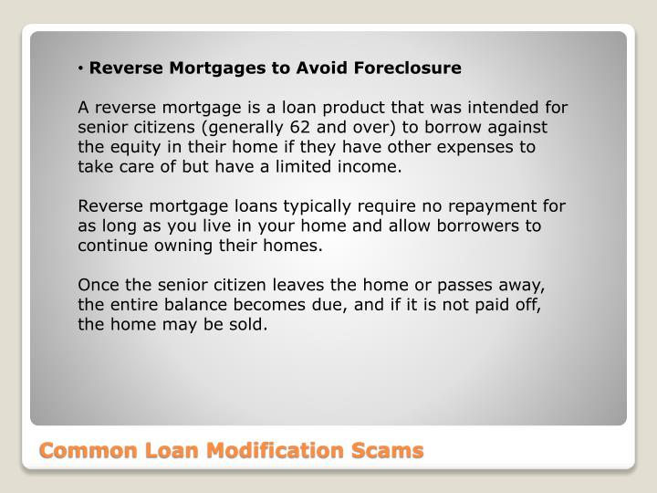Reverse Mortgages to Avoid Foreclosure