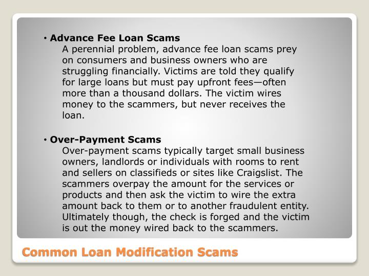 Advance Fee Loan Scams