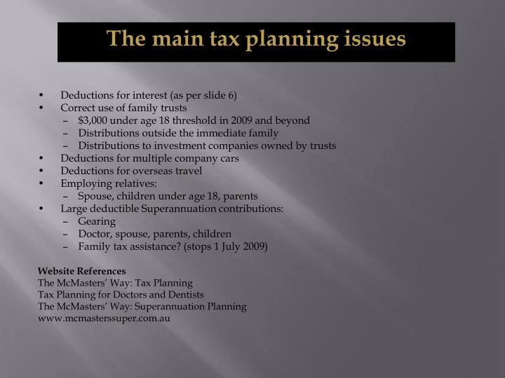 The main tax planning issues