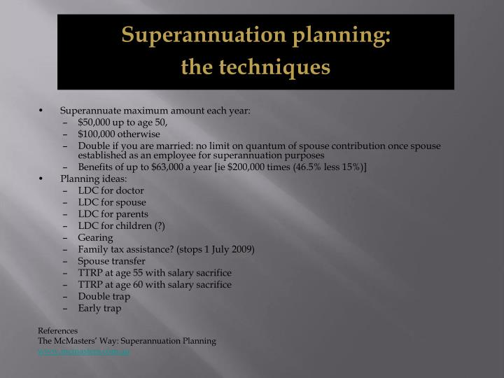 Superannuation planning: