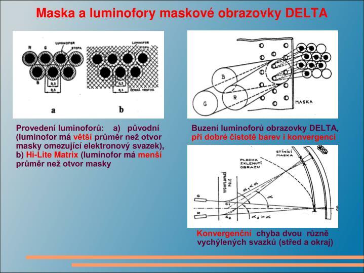 Maska a luminofory maskové obrazovky DELTA