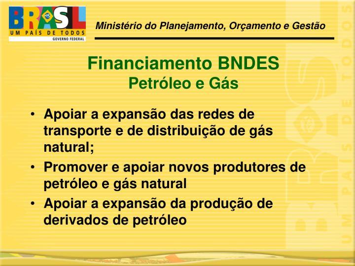 Apoiar a expansão das redes de transporte e de distribuição de gás natural;