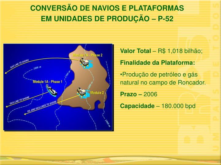 CONVERSÃO DE NAVIOS E PLATAFORMAS
