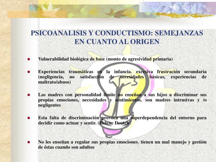 PSICOANALISIS Y CONDUCTISMO: SEMEJANZAS EN CUANTO AL ORIGEN