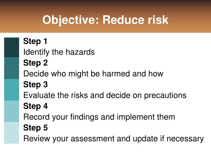 Objective: Reduce risk