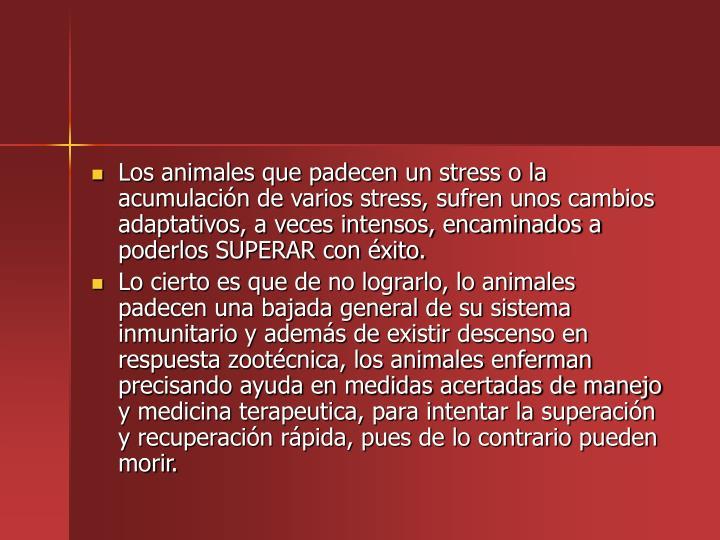 Los animales que padecen un stress o la acumulacin de varios stress, sufren unos cambios adaptativos, a veces intensos, encaminados a poderlos SUPERAR con xito.