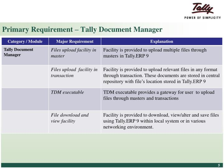 Primary Requirement – Tally Document Manager