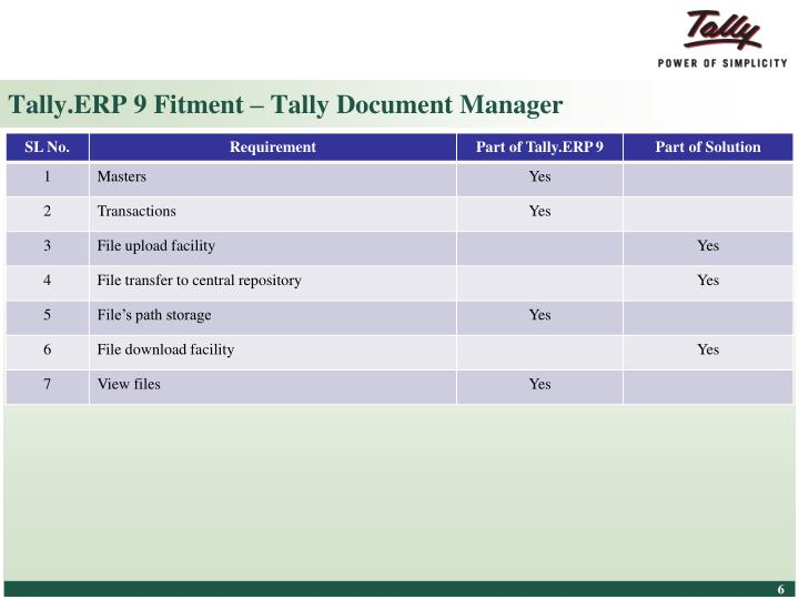Tally.ERP 9 Fitment – Tally Document Manager