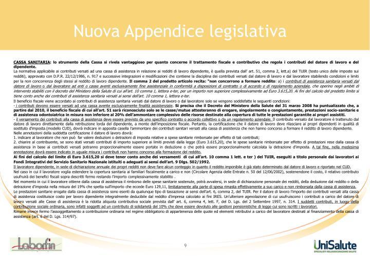 Nuova Appendice legislativa
