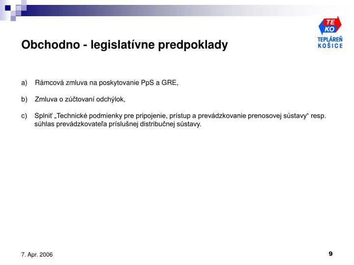 Obchodno - legislatívne predpoklady