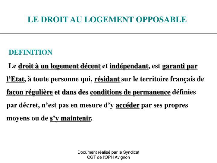 Ppt le droit au logement opposable powerpoint presentation id 4903365 - Plus logement definition ...
