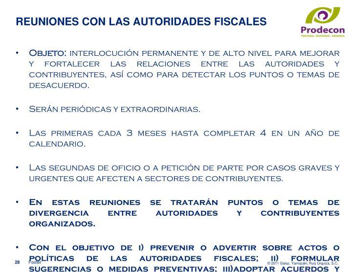 REUNIONES CON LAS AUTORIDADES FISCALES